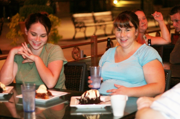 "Then we resorted to ""When all else fails, try chocolate."" I can't say that it made those contractions come any closer than every 20 minutes, but it sure was fun. There was live music and a drunk couple behind Carlee that gazed at one another, singing every lyric to every song."