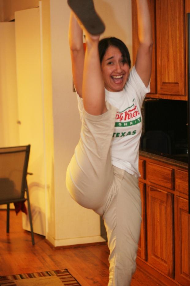Well, Marisela did high kicks anyway.
